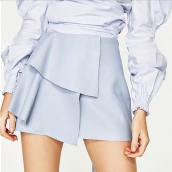 dc1253feef Zara Skirts | Light Blue Faux Leather Skirt With Ruffle | Poshmark